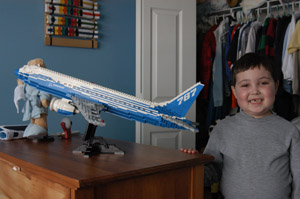 Christopher Court with his Lego Boeing 787